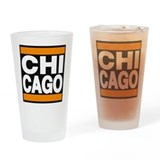 chicago orange Drinking Glass