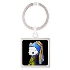 Westie With Pearl Earring Square Keychain