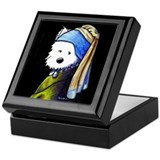 Westie With Pearl Earring Keepsake Box