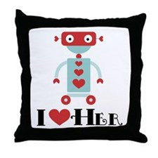 Robot Couples Valentine Throw Pillow
