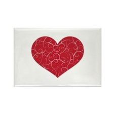 Red Swirly Heart Rectangle Magnet (100 pack)