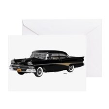 1958 Ford Fairlane 500 Black Greeting Card