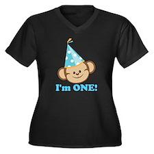 First Birthday Monkey Plus Size T-Shirt