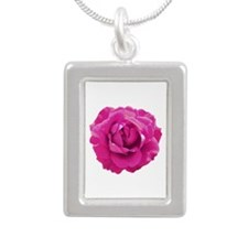 Cerise rose Silver Portrait Necklace