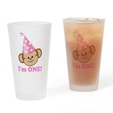 First Birthday Monkey Pink Drinking Glass