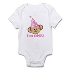 First Birthday Monkey Pink Body Suit