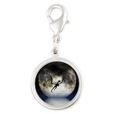 Dragon Moon Silver Round Charm