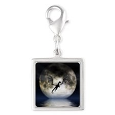Dragon Moon Silver Square Charm
