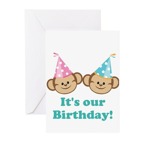 Twins Birthday Monkeys Greeting Cards (Pk of 10)