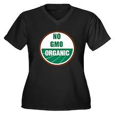 No Gmo Organic Women's Plus Size V-Neck Dark T-Shi