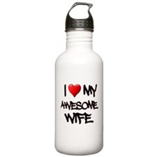 I Heart My Awesome Wife Water Bottle