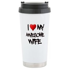 I Heart My Awesome Wife Travel Mug