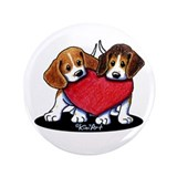Beagle Heartfelt Duo 3.5&quot; Button (100 pack)