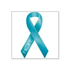 Teal Ribbon Rectangle Sticker