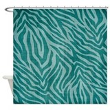 Teal Zebra Print Shower Curtain