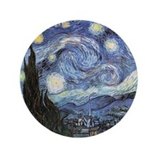 "Starry Night Vincent Van Gogh 3.5"" Button (100 pac"