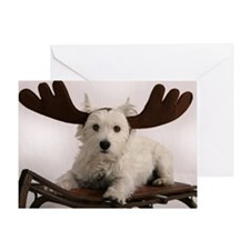 Greeting Card - Westie Reindeer