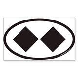 Double Black Diamond Ski Trail Euro Oval Decal