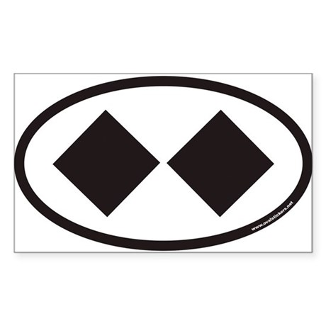 Double Black Diamond Ski Trail Euro Oval Sticker