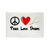 Peace, Love, Drums Rectangle Magnet (10 pack)
