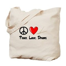 Peace, Love, Drums Tote Bag