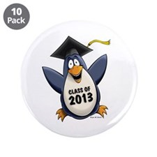 "2013 Graduate Penguin 3.5"" Button (10 pack)"