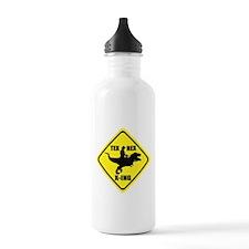 Cowboy On T-Rex - Tex Rex X-ING Sign Water Bottle