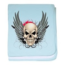 Skull, guitars, and wings baby blanket