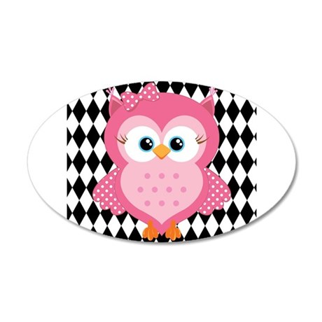 Cute Pink Owl on White and Black Wall Decal