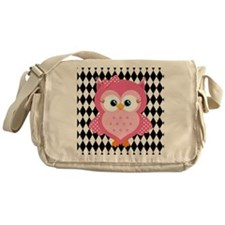 Cute Pink Owl on White and Black Messenger Bag