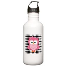 Cute Pink Owl on White and Black Water Bottle