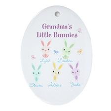 Grandmas little bunnies custom Ornament (Oval)