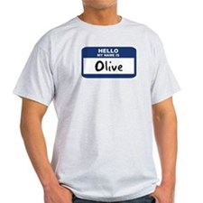 Hello: Olive Ash Grey T-Shirt