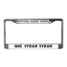 Que Syrah Syrah License Plate Frame
