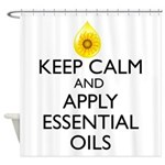 Keep Calm and Apply Essential Oils Shower Curtain