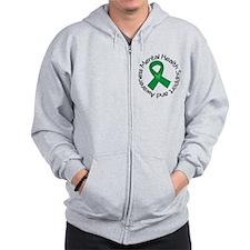 Mental Health Heart Ribbon Zip Hoodie