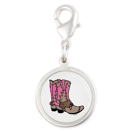 Cowgirl Boots Silver Round Charm