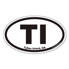 Tybee Island TI Euro Oval Decal