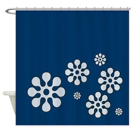 Dark Blue With Flowers Shower Curtain By CopperCreekDesignStudio