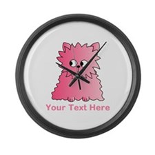 Pink Persian Cat. Text. Large Wall Clock
