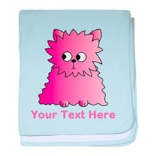 Pink Persian Cat. Text. baby blanket