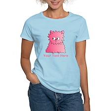 Pink Persian Cat. Text. T-Shirt