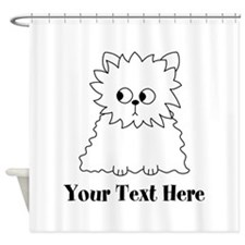 Persian Cat. Black Text. Shower Curtain