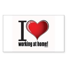 I love working at home! Oval Decal