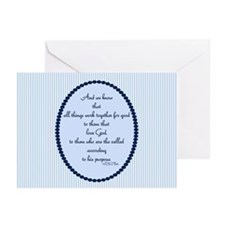 Romans 8 28 Bible Verse Blue Greeting Cards (Pk of