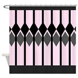 Blush, Gray, and Black Shower Curtain