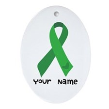 Personalized Green Ribbon (heart) Ornament (Oval)