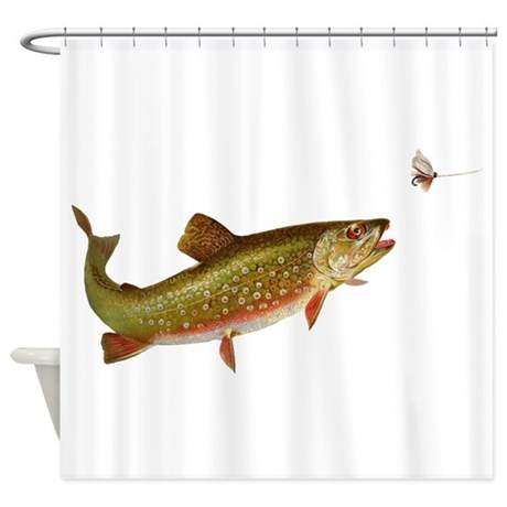 Vintage Trout Fishing Illustration Shower Curtain By Doodlefly