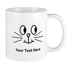 Cute Cat Face, Black Text. Mug