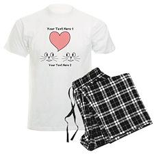 Cats and Love Heart. Text. Pajamas